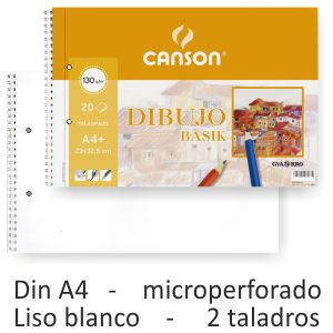 Block de dibujo Canson Guarro Basik microperforado Liso 2 T