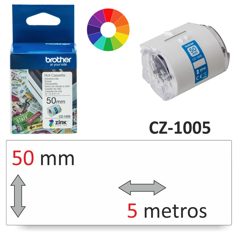 brother cz 1005 rollo de etiquetas color vc 500w