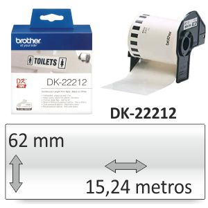 Brother DK-22212 Rollo plastico blanco adhesivo 62mm