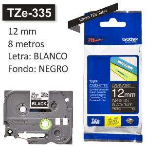 Cinta Rotuladora Brother TZe-335 Blanco sobre negro