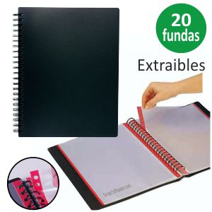 Carpeta 20 Fundas Extraibles lomo de color, Liderpapel