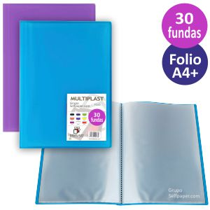 Carpeta 30 fundas Multiplast Folio, tapas color traslucido