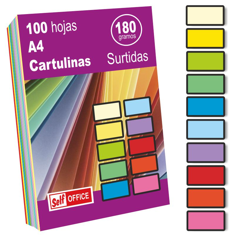 cartulinas 10 colores surtidos din a4 folio 100