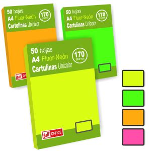 Cartulinas Din A4 colores neon fluorescentes 50 hjs unicolor