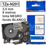 Cinta Brother 3,5 mm - TZEN201 Negro/blanco para rotuladoras