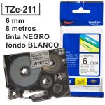 Cinta Brother 6mm TZ-211 TZ211 negro sobre blanco