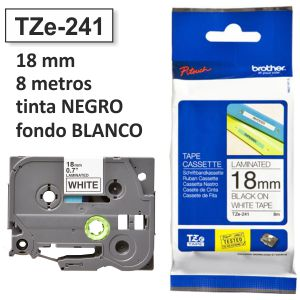 Cinta Brother TZE-241 18mm TZE241 rotuladora negro/blanco