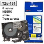 Cinta Rotuladora Brother TZe-131 Transparente tinta negro