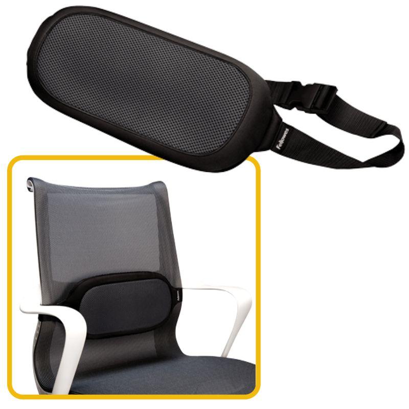 Cojin silla de oficina, lumbar, Fellowes I-Spire Negro, Mercamaterial.