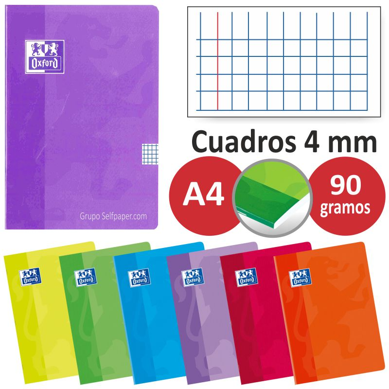 cuadernos grapas oxford a4 folio cuadros 4 mm