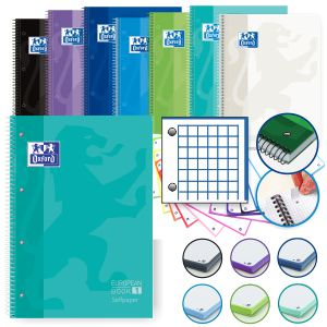 Libretas Oxford con 4 taladros European colores frescos