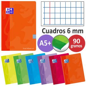 Libretas Oxford grapas Din A5 cuartilla cuadros 6 mm