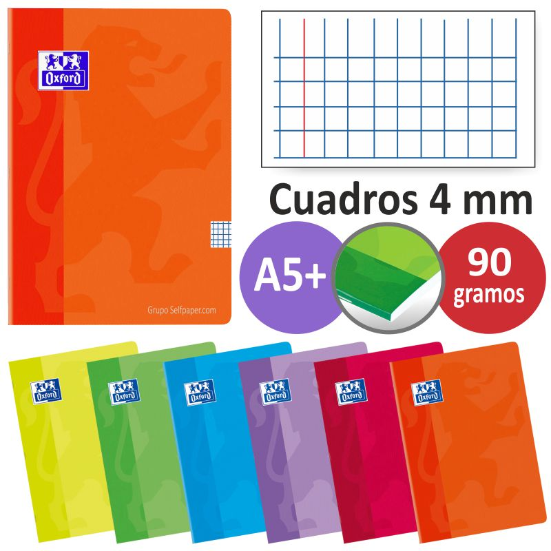 cuadernos oxford grapas a5 cuartilla cuadros 4 mm