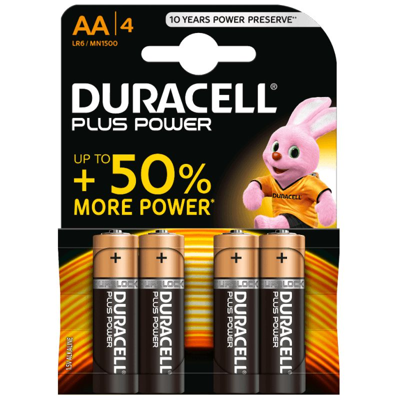 Pilas Duracell Plus Power 50% LR6 AA, Pack 4 baterías