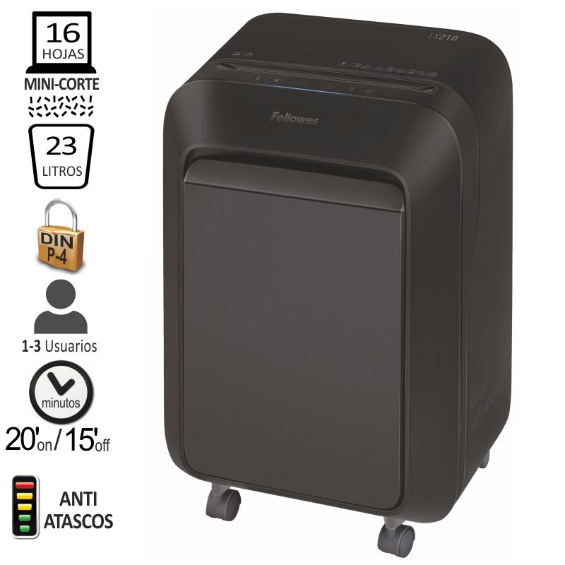 Comprar Destructora de papel Fellowes LX210, Minicorte P-4, 16 hjs.