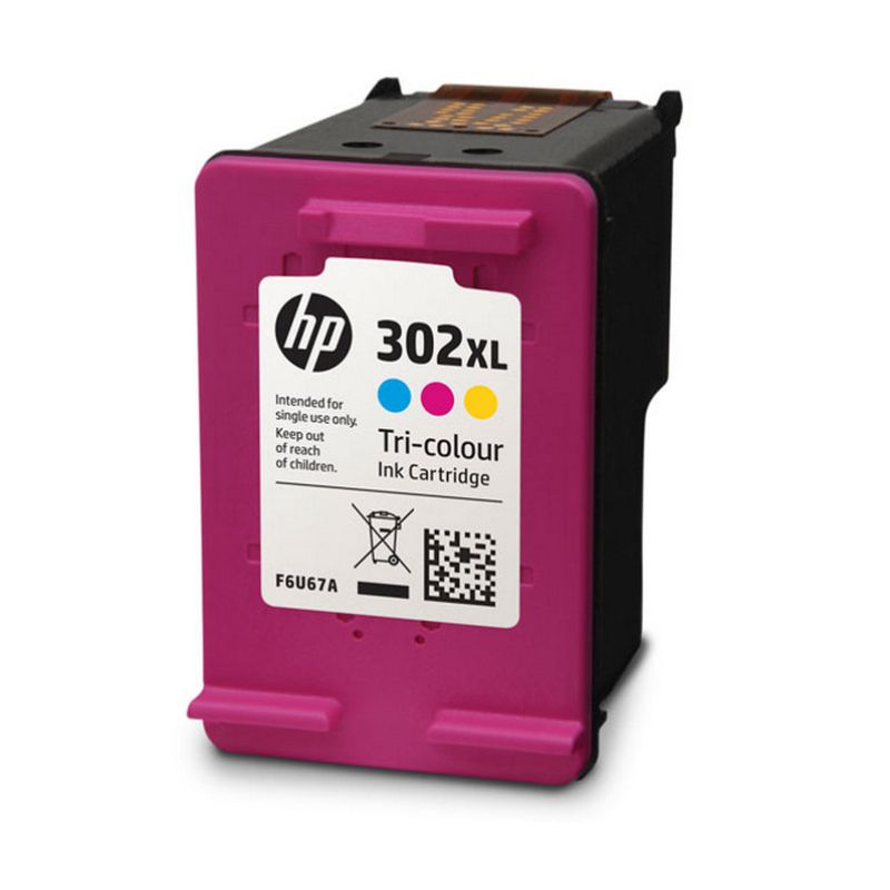 hp 302xl tri color cartucho tinta original f6u67ae
