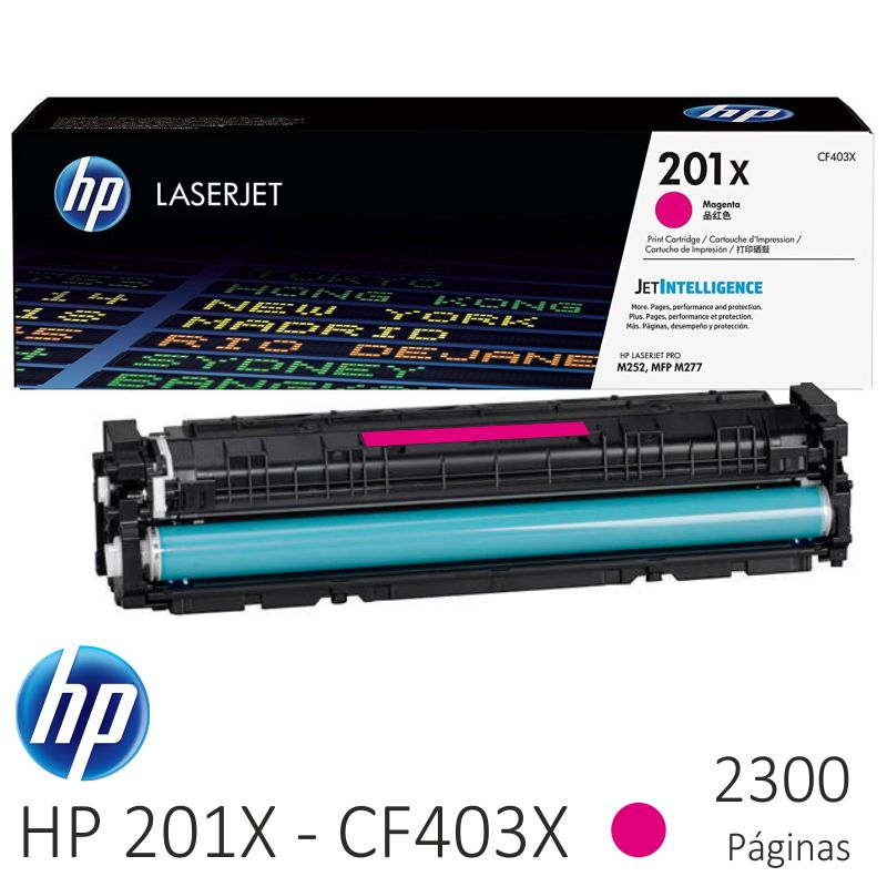 hp cf403x, 201x color magenta, alta capacidad