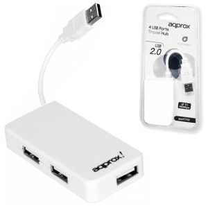 Hub Usb 2.0, de 4 Puertos, Approx, Blanco, pc o portatil