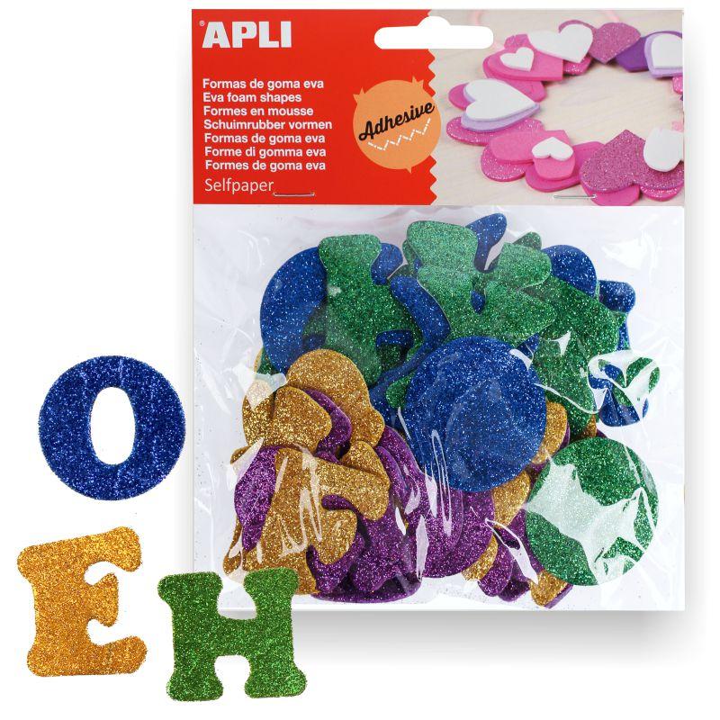 4b51ae579da Letras adhesivas con purpurina Apli 13487 de goma eva