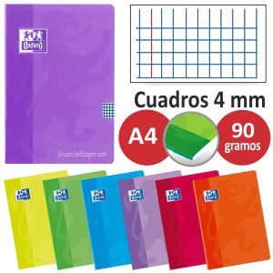 Cuadernos grapas Oxford Din A4 folio cuadros 4 mm