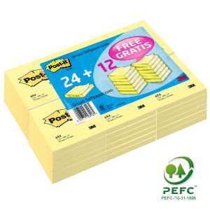 Pack 24+12 GRATIS, notas Post-It, 76x76 ref: 654 Clásicas