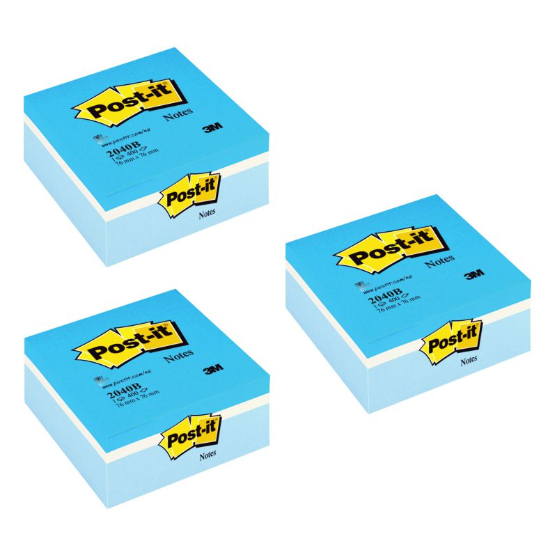 notas adhesivas post it azules cubo 400 hojas