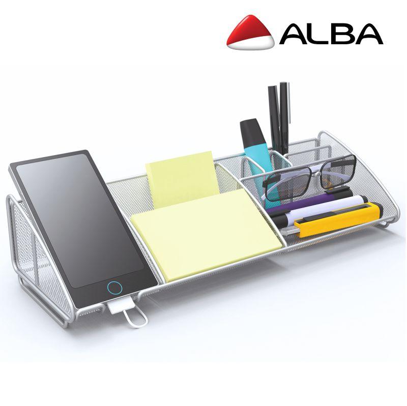 Organizador de mesa oficina Alba Meshboard aluminio, Mercamaterial.
