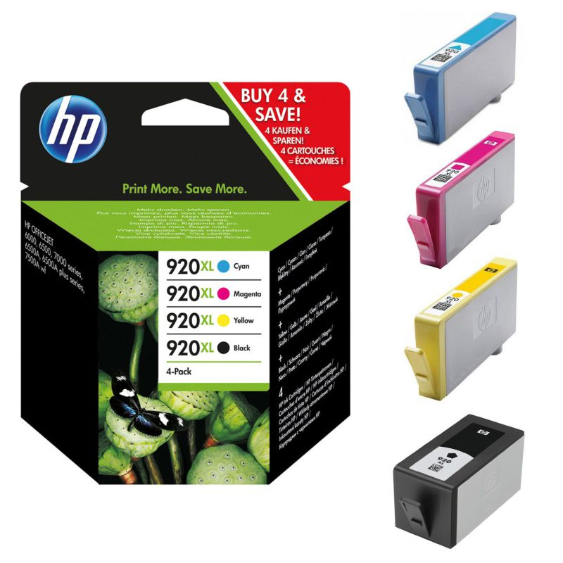 Comprar HP 920XL Pack ahorro 4 cartuchos de tinta, negro + 3 color