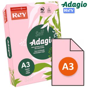 Papel Din A3, doble folio, color rosa clarito, Adagio 80 grs