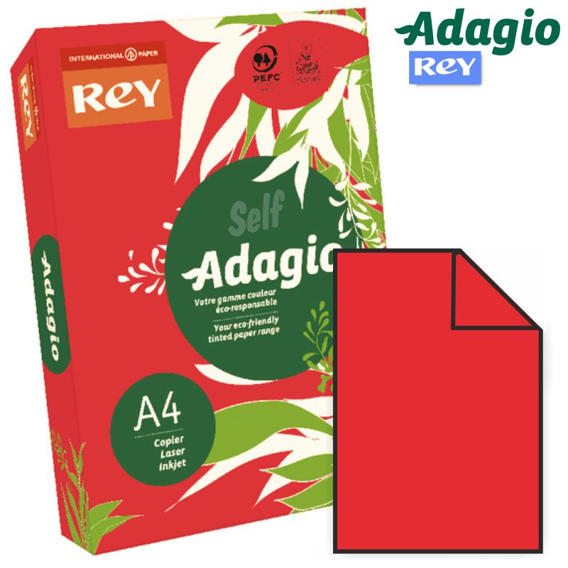 papel din a4 color rojo intenso adagio 22