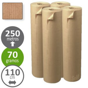 Papel para embalar kraft, rollo 110 cms x 250mts, 25 kgs
