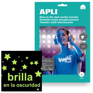 Papel transfer luminiscente brillo en oscuridad Apli