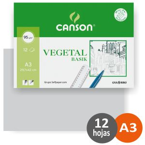 Papel Vegetal Din A3 Pte.12 hojas Canson 90/95 Gramos