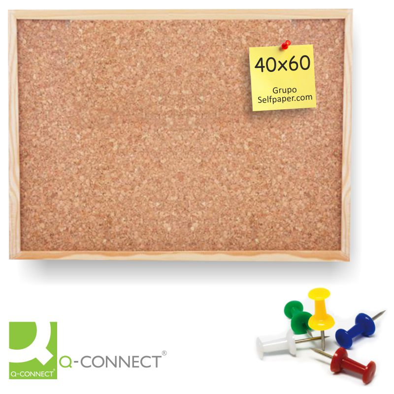 Pizarra de corcho con marco de madera 40x60 cms - 2 caras ...