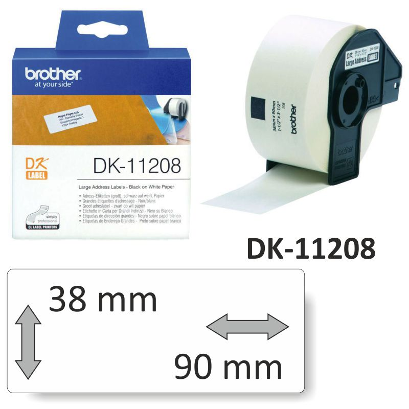 Comprar Rollo etiquetas Brother DK-11208 38x90mm 400 pegatinas
