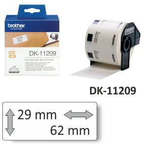 Rollo etiquetas Brother DK-11209 Termicas 29x62mm 800uds