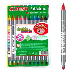 Alpino Double Rotuladores con 2 puntas 10 colores surtidos
