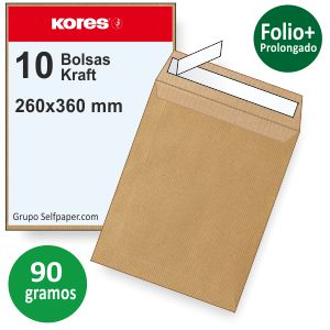 Bolsas 260x360mm, Folio prolongado Kraft marrón, Pack 10u