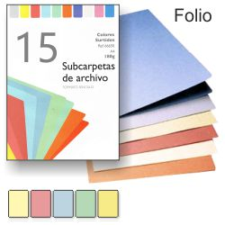 Subcarpetas cartulina de colores claros Folio pack 15
