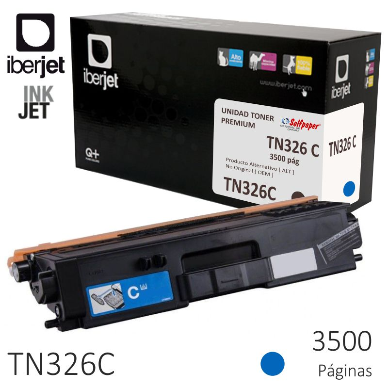 toner compatible brother tn326c azul cyan 3500 pág